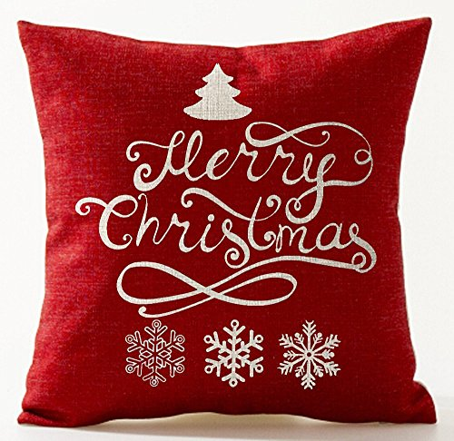 Beautiful Beige Ivory Shadow Christmas Pine Tree Snowflake Merry Christmas In Red Cotton Linen Throw Pillow Case Cushion Cover Home Office Living Room Decorative Square 18 X 18 Inches Christmas (Living Natural Pine Bedding)