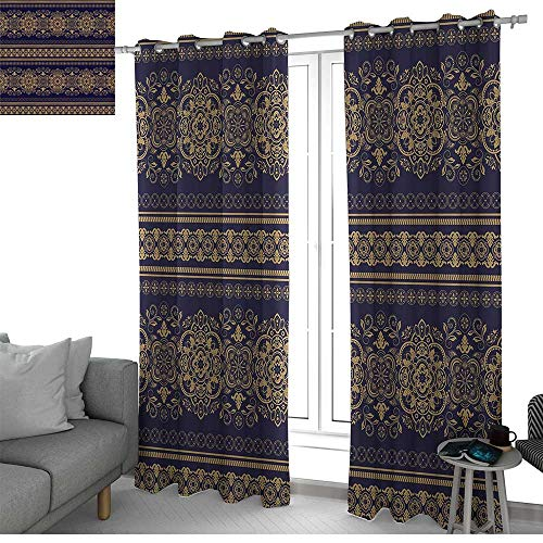 (NUOMANAN Bedroom Curtains 2 Panel Sets Turkish Pattern,Damask Style Medieval Flowers with Rich Details Horizontal Borders,Indigo Pale Amber,Complete Darkness, Noise Reducing Curtain 100