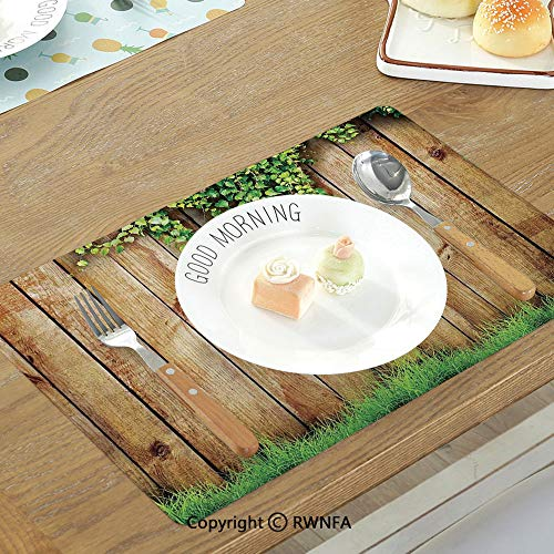 SfeatruMAT Dining Table Non-Slip Table Mats Medieval Medieval Wooden Castle Wall and Metal Gate Greek Style Mid Century Design Art Print Non-Slip Heat Resistant Decor Placemat -