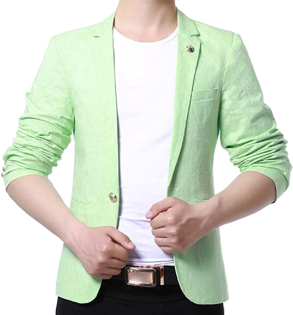 Abetteric Mens Slim Cut One Button Easy Care Short Blazer with Brooch