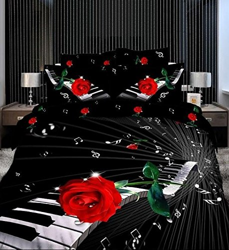 Newrara Piano with Rose on the Sheets Bedding Set, Piano Bed Sheet Set, Piano Bedding Set.3d Bedding Set,piano Bedclothes, 4pcs, Queen