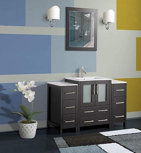 Amazon Com Vanity Art 48 Inch Single Sink Modern Bathroom Vanity Combo Set 2 Side Cabinets 1 Shelf 8 Drawers Ceramic Top Bathroom Cabinet With Free Mirror Va3024 48 E Kitchen Dining