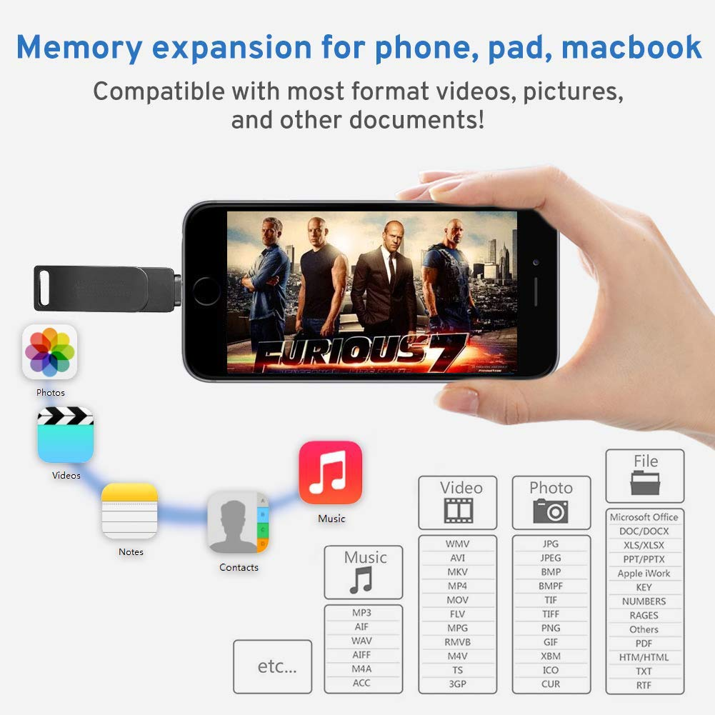 iOS USB Flash Drive 128GB - USB 3.0 Zinc Alloy Memory Stick External Storage Compatible iPhone/PC/iPad/Android More Devices USB Port (Gray)