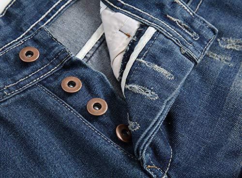 Fit In A Lunghi Da Slim Jeans Uomo Alta Targogo Elastico Blu Vita Dritti Vintage Media Denim Con z58qqRxP