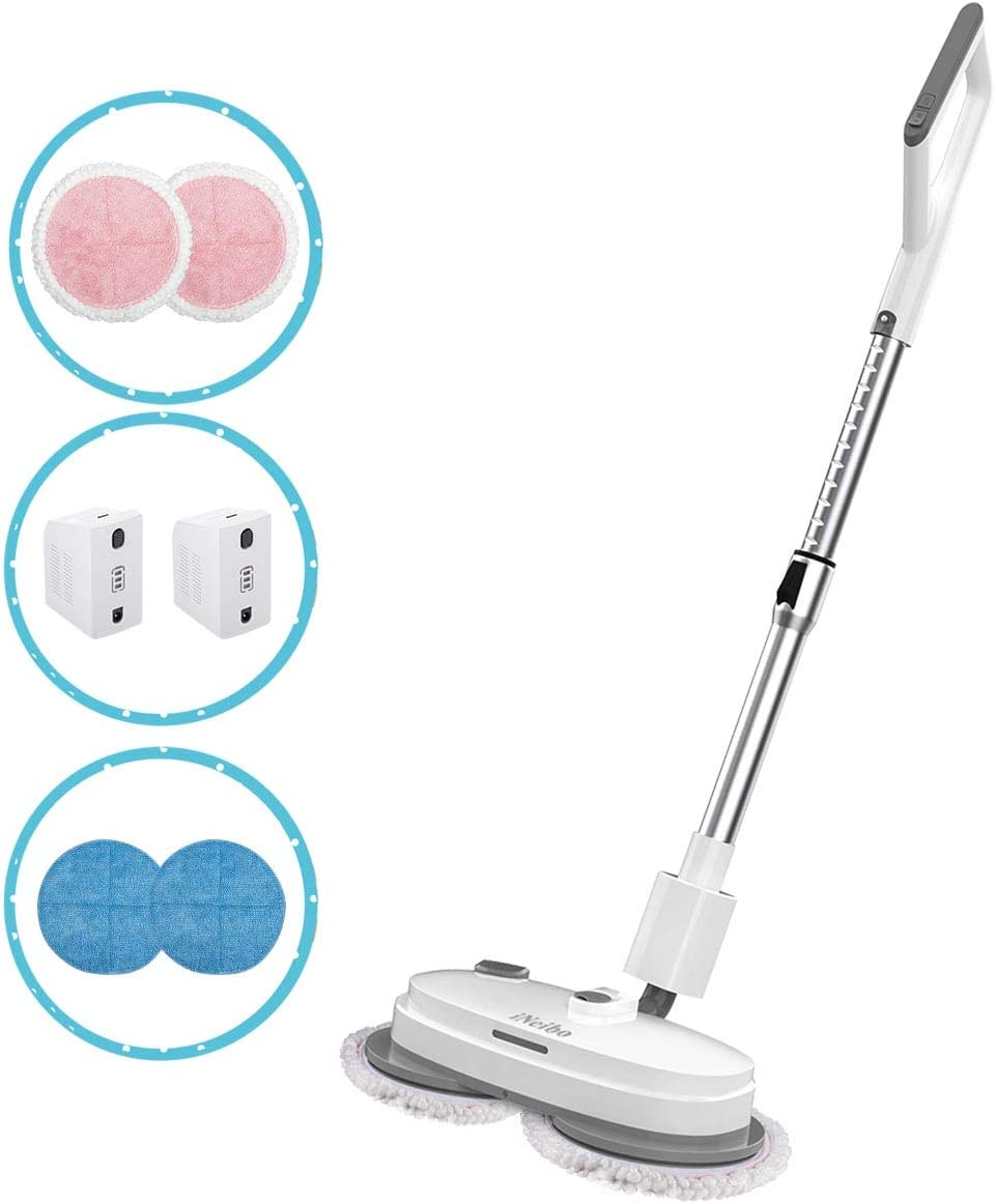 iNeibo Cordless Electric Mop 2 Batteries Long Battery Life Mop 3 in 1 Rechargeable One-Hand Operation Labor-Saving Mop Led Headlight Adjustable Handle Polisher Scrubber