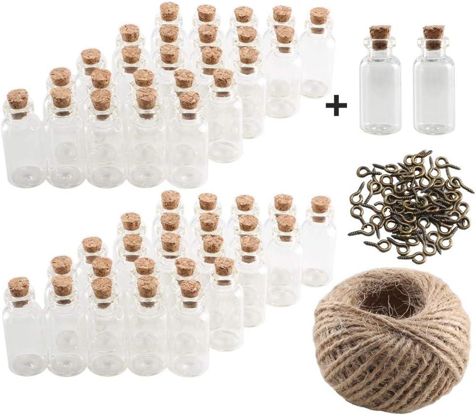 Pulluo 50+2pcs Mini Botellas de Cristal 5 ml Botes de Cristal con Tapón de Corcho Botellas de Vidrio con 30 m Cuerda Tornillos de Ojo Botella de Mensaje Manualidad Decorando Bodas Bautizos Comuniones