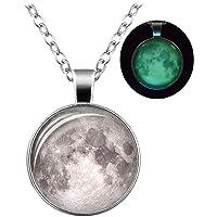24 JOYAS Colgante Luna Llena Plateada con Cadena clásica de 1 mm y 50+6 cm