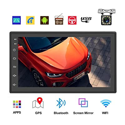 Podofo Double Din Car Radio GPS Navigation Android Car Stereo 7 Inch HD Touch Screen Car MP5 Player Dual USB AUX in Support Bluetooth WiFi GPS FM Radio Android/iOS Mirror Link with Rear Camera: GPS & Navigation