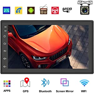 Podofo Double Din Car Radio GPS Navigation Android Car Stereo 7 Inch HD Touch Screen Car MP5 Player Dual USB AUX in Support Bluetooth WiFi GPS FM Radio Android/iOS Mirror Link with Rear Camera