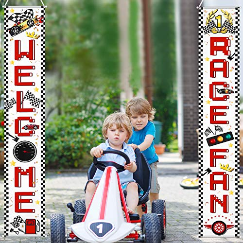 - Race Car Banner Welcome Race Fan Decoration Set Checkered Flag Porch Sign Welcome Banner Race Fan Hanging Decoration for Indoor/Outdoor Race Car Party Birthday School Event Decoration