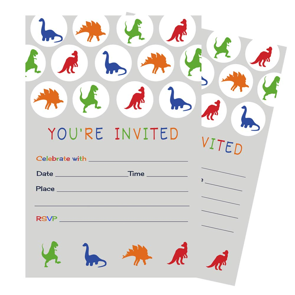 15 Dinosaur Invitations with Orange Envelopes for Boys Birthday Paper Clever Party