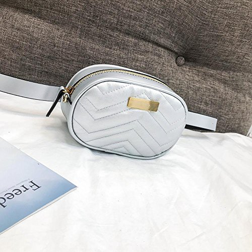 Domybest Women Oval Waist Packs Bags Fanny Chain Crossbody Casual Silver Shoulder Leather x7r1wxSF