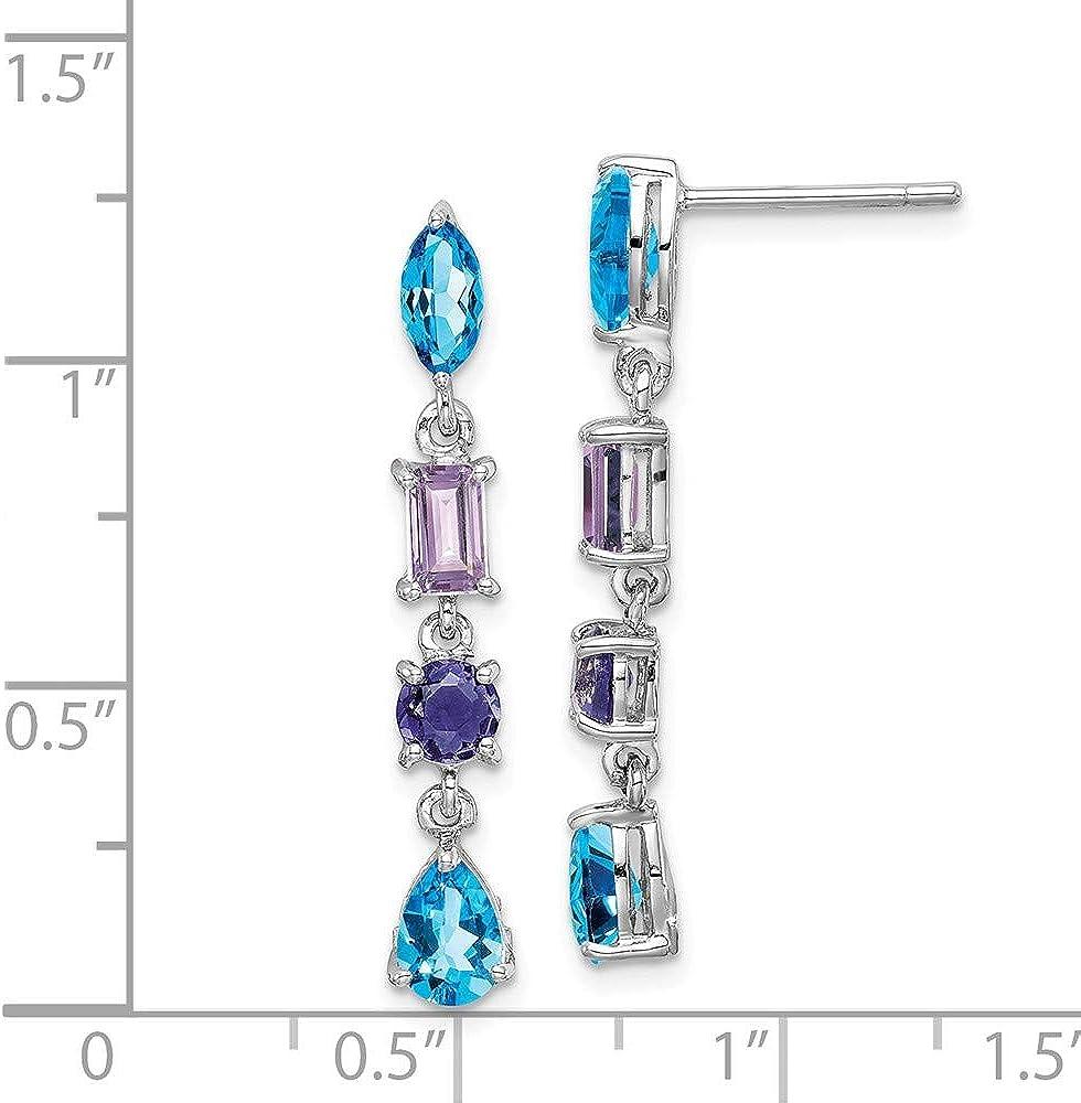 925 Sterling Silver Purple Amethyst Blue Iolite Post Stud Earrings Drop Dangle Fine Jewelry For Women Gifts For Her