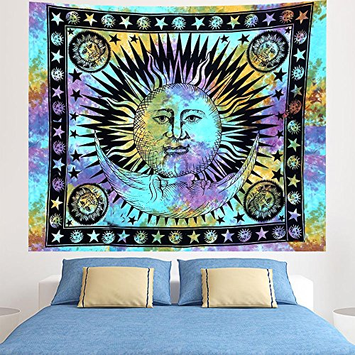 Indian-hippie Bohemian-psychedelic-celestial Sun-moon-mandala Wall-hanging-tapestry-tie-dye Queen-size-large-84x90