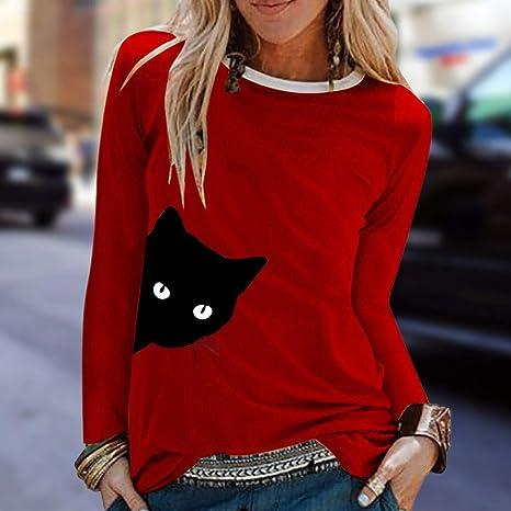 VEMOW Pullover Sudadera Mujer Casual Gato Impresión Camisas Cuello Redondo Manga Larga Parte Superior Suelto Camiseta Blusa Abrigos Chaqueta Otoño Invierno(Rojo, S): Amazon.es: Ropa y accesorios