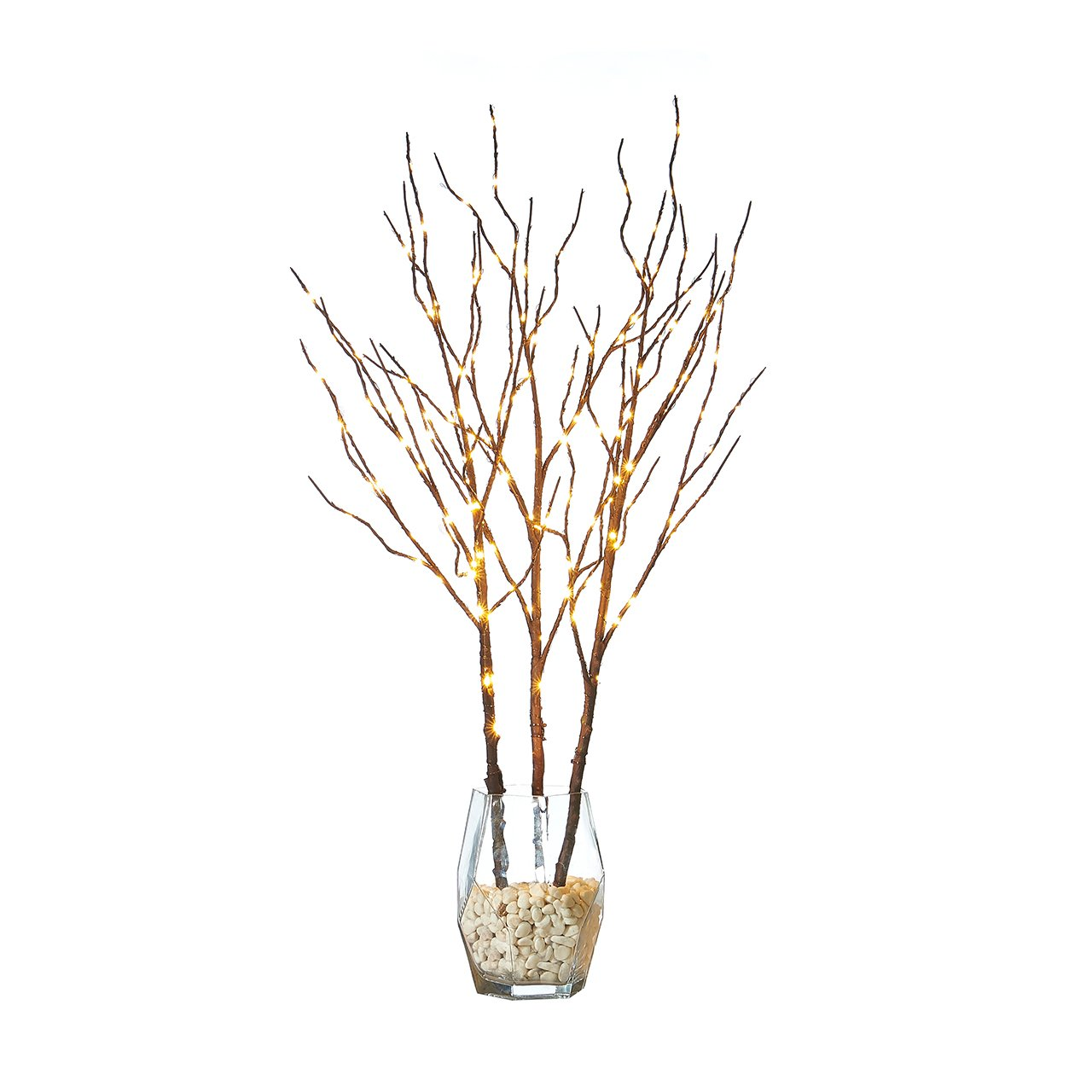 Hairui Tabletop Lighted Brown Branch Decor with Fairy Copper Lights 32inch 150LED, Pre-lit Twig Branch Tree Lights for Indoor Outdoor Home Christmas Garden Party Wedding Decoration Lights 3 Pack Hairui Decor Lights