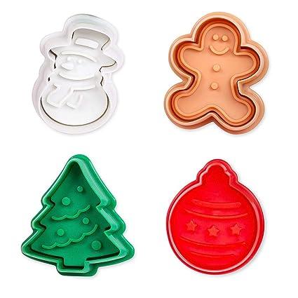 ElecMotive Set de 4 moldes para galletas en plástico Navidad En una caja de regalo