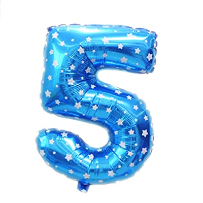 1pc 16 pulgadas Número 5 globos de papel de aluminio bandera del cumpleaños de la fiesta de cumpleaños Decoración y accesorios Azul: Juguetes y juegos