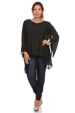 Women's Plus Size Chiffon Blouse Top Black V-Neck Shirt