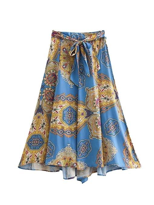 Falda de Encaje Estampada Estilo étnico de Verano (Color : One ...