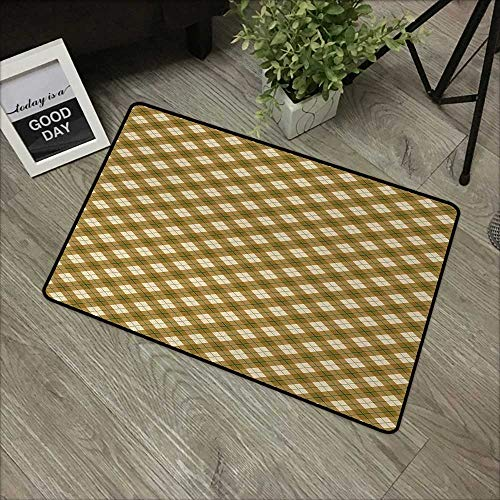 Interior mat W35 x L59 INCH Plaid,Diagonal Plaid Pattern in Browns with a Green Stripe Detail Retro Style,Pale Brown Green Beige Easy to Clean, Easy to fold,Non-Slip Door Mat -