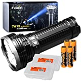 Fenix TK75 2018 5100 Lumens High-Performance Long-Throw Micro-USB Rechargeable Flashlight, 4x 3500mAh 18650 Rechargeable Batteries, 2x Lumen Tactical Battery Organizers