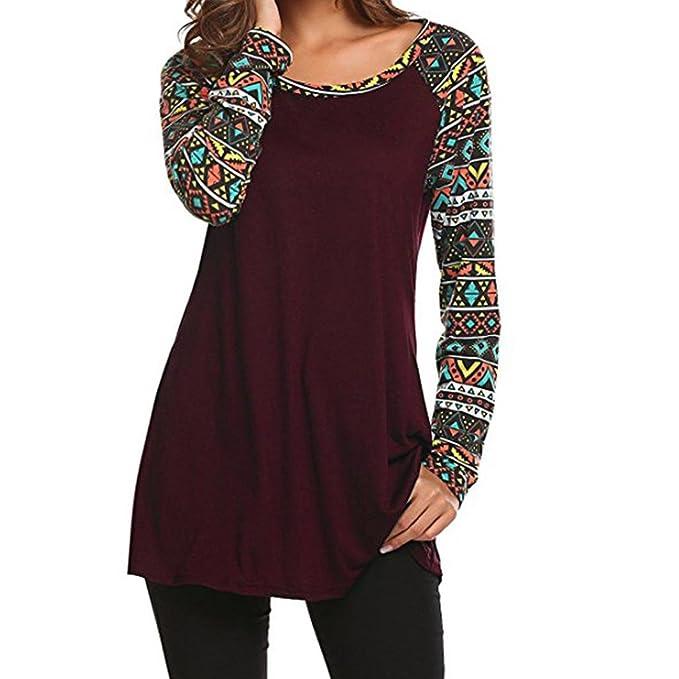 Blusa de Mujer❤️Zarupeng Camisetas básicas geométricas del cuello redondo casual de las mujeres Tops oscuras de la túnica de la manga del oscilación: ...
