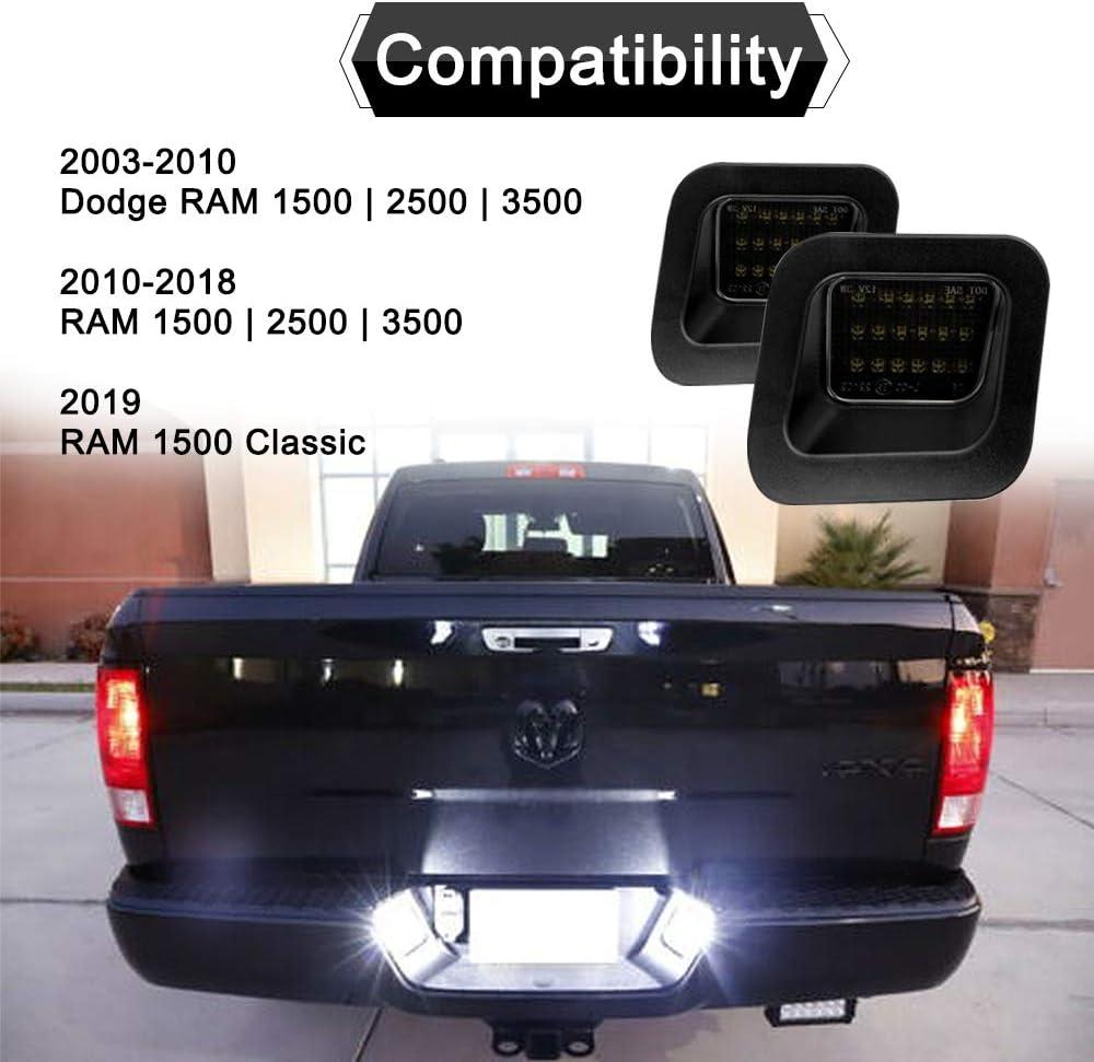 JSBOYAT Led License Plate Light Lamp Assembly for 2003-2018 Dodge RAM 1500 2500 3500 Pickup Truck 6000K Diamond White 2 Pack