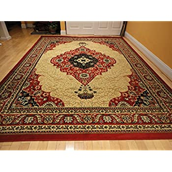 This Item Luxury Traditional Red Persian Rug 8x11 Red Cream Tabriz Style Rugs  Red Rugs For Living Room Carpets 8x10 Rugs For Bedroom Clearance Rug (Large  ...