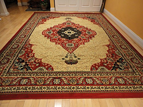 Luxury Traditional Red Persian Rug 8x11 Red Cream Tabriz Style Rugs Red Rugs for Living Room Carpets 8x10 Rugs for Bedroom Clearance Rug (Large 8'x11' Rug)