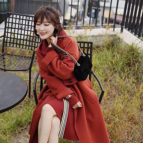 and the Winter Coat Lapel Coat Autumn Loose Brick of red Jacket Coat It Section in WYF Long Double 0qA5Ww