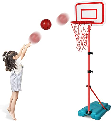 N/C Kids Basketball Hoop Stand Adjustable Height 2.9 ft -6.2 ft Indoor Outdoor Basketball Hoop