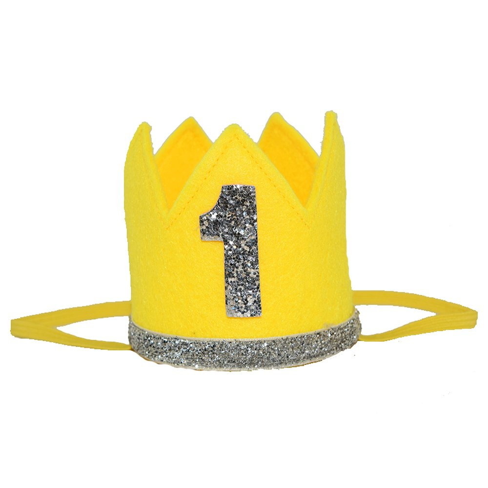 Petsidea Pet First 1 2 Birthday Crown Hat for Dog Doggy Cat Kitty Pig Birthday Party Photo Prop (Yellow ''1'')