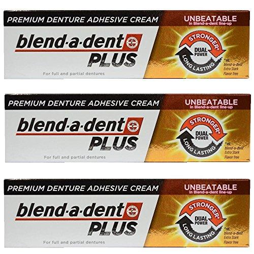 - German blend-a-dent PLUS Premium Denture Adhesive Cream Dual Power 40g (3 pack)