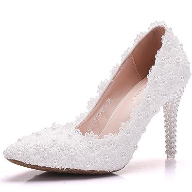 e9f584850d3b Asakuchi high Heels Lace Flowers Wedding Shoes Pearl Stilettos  Elegant(White 36 5 B