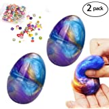 Galaxy Fluffy Slime, 2 Pack Soft Egg Slime WITH FRUIT SLICES Non-Toxic Colorful Mud slime Stress Relief DIY Toys for Kids Adult
