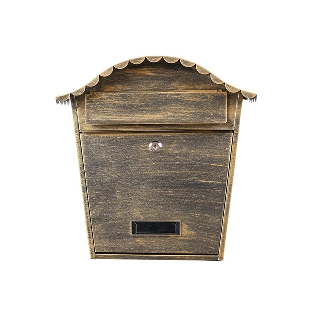 HZB ヴィラメールボックス屋外の郵便箱ヨーロッパの吊り壁屋外の防水新聞ボックス、壁の装飾、アンティークゴールド   B07J3ZYSK7