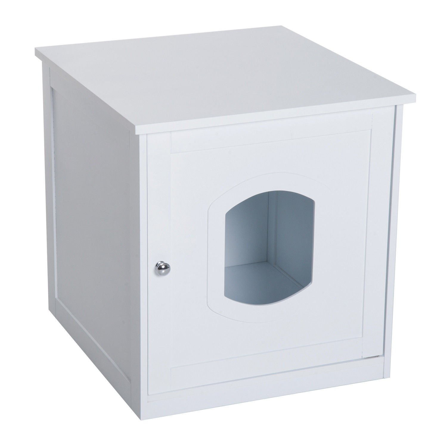 PawHut Decorative Wooden Covered Cat House Side End Table Mess Free Cat Litter Box Hideaway Cabinet Enclosure - White by PawHut