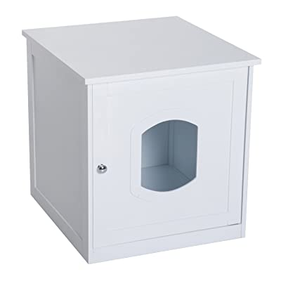 PawHut Decorative Wooden Covered Cat House Side End Table Mess Free Cat Litter Box Hideaway Cabinet Enclosure