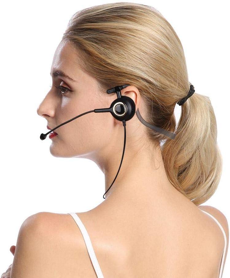 Auriculares para centros de llamadas, auriculares para teléfonos inalámbricos Micrófono con cancelación de ruido Auriculares para PC livianos para oficina Auriculares para teléfonos(sin adaptador)