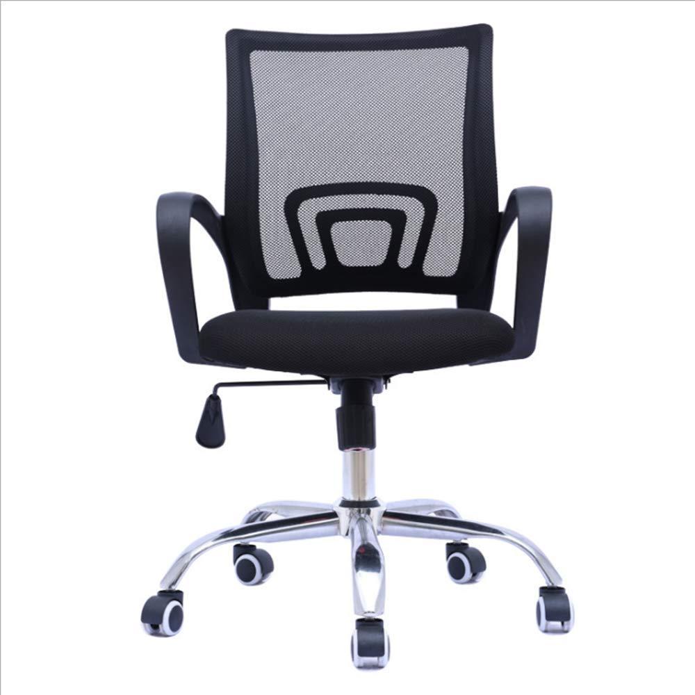 Office Chair mesh Back seat Height Adjustable Rotating Office seat Simple Bow Back Computer Chair (Black)