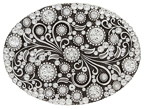 Antique Silver Oval Engraved Full Crystal Rhinestone Belt Buckle