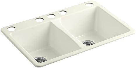 Kohler K 5873 5u 96 Deerfield Double Bowl Undermount Kitchen Sink With Five Hole Drilling Biscuit