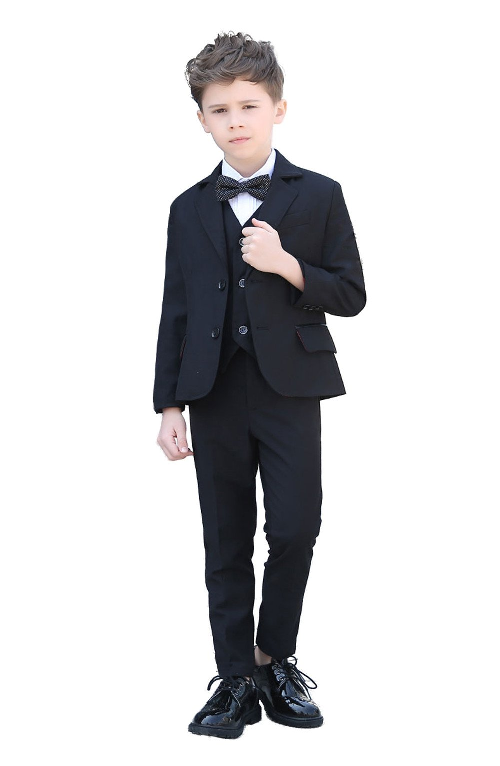 Yanlu Formal Boys Suits Set Dresswear Silm Fit Toddler Tuxedo for Weddings Size 12 Black
