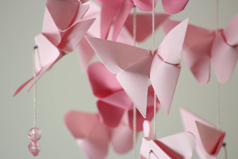 Móvil de viento nube de mariposas rosas, decoración niñas ...