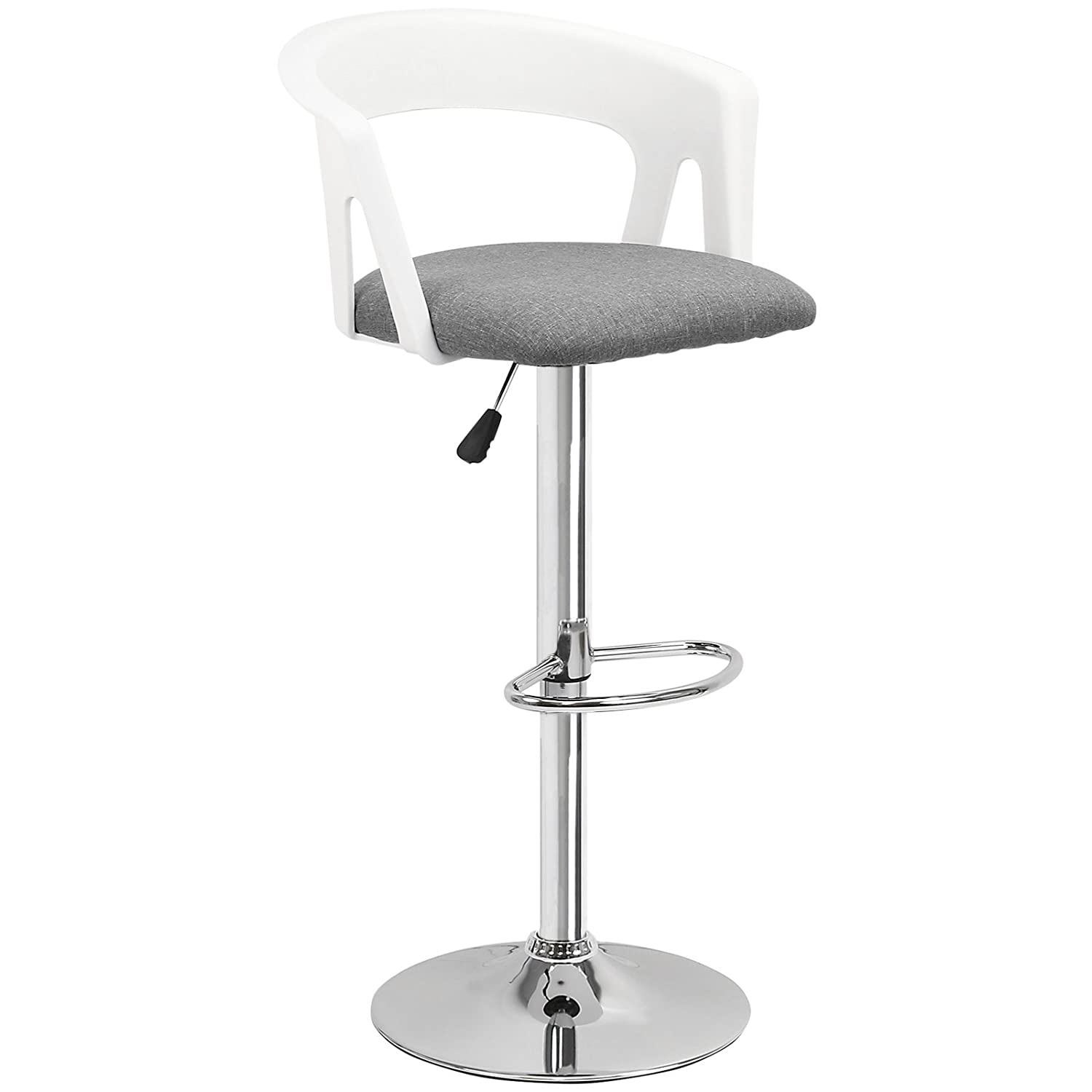 Hartleys Tall Stool With Backrest - Chrome Base/White Seat/Grey Cushion
