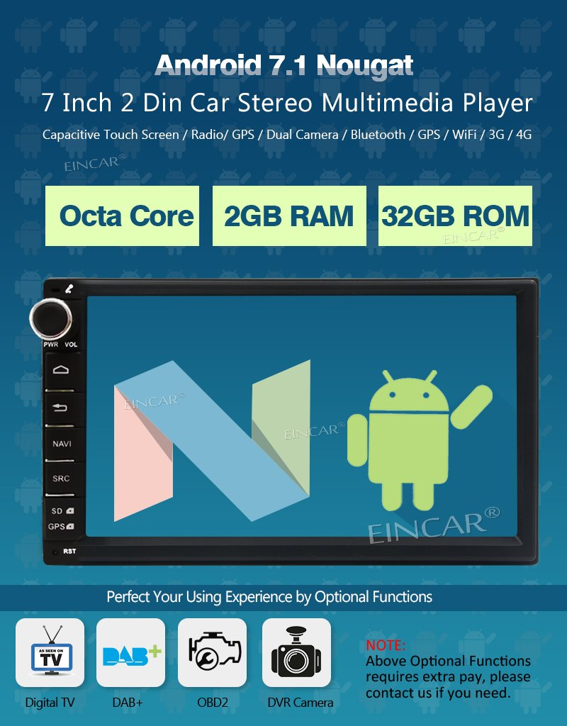 EinCar 7 Inch Car Stereo Android 7.1 2GB 32GB Head Unit Double Din Octa Core Car Audio GPS Navigation Bluetooth Support AV Out Subwoofer Mirror Link EinCar Direct LYH.AN70268GNN2