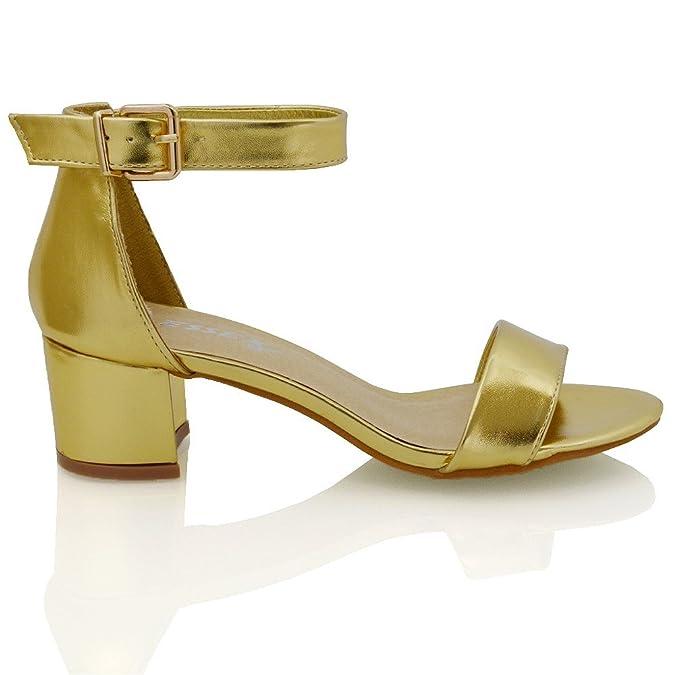 ESSEX GLAM Damen niedrigen absatz geschnallte kunstleder sandalen