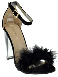 11713231791e Top Moda Konner 30 Womens Feather Chunky Heel Sandals