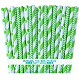 cooks tools polka dot - Outside the Box Papers Lime Green Stripe, Chevron and Polka Dot Paper Straws 7.75 Inches 75 Pack Lime Green, White